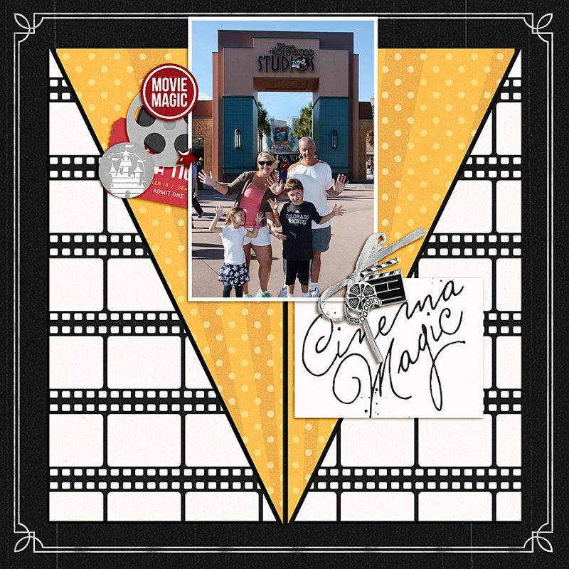 Disney Hollywood Studios Cinema Magic digital scrapbooking layout using Project Mouse (Movies) by Britt-ish Designs and Sahlin Studio