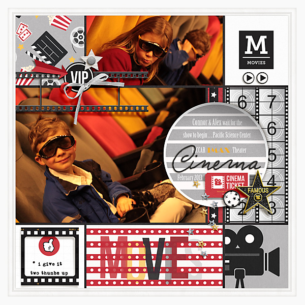 At the Movies Cinema digital scrapbooking layout using Project Mouse (Movies) by Britt-ish Designs and Sahlin Studio