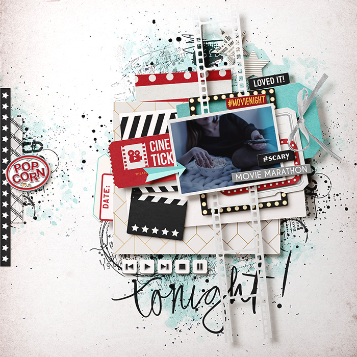 Movie Tonight digital scrapbooking layout using Project Mouse (Movies) by Britt-ish Designs and Sahlin Studio
