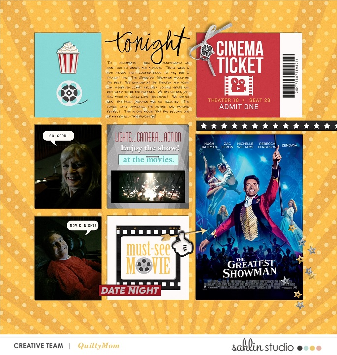 Tonight at the Movies digital scrapbooking layout using Project Mouse (Movies) by Britt-ish Designs and Sahlin Studio