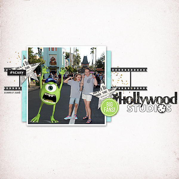 Disney Hollywood Studios digital scrapbooking layout using Project Mouse (Movies) by Britt-ish Designs and Sahlin Studio