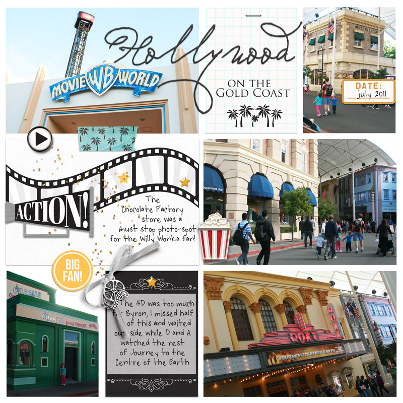 Disney Hollywood on the Gold Coast ACTION digital Project Life scrapbooking layout using Project Mouse (Movies) by Britt-ish Designs and Sahlin Studio