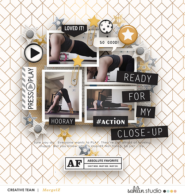 Ready for My Close Up digital scrapbooking layout using Project Mouse (Movies) by Britt-ish Designs and Sahlin Studio