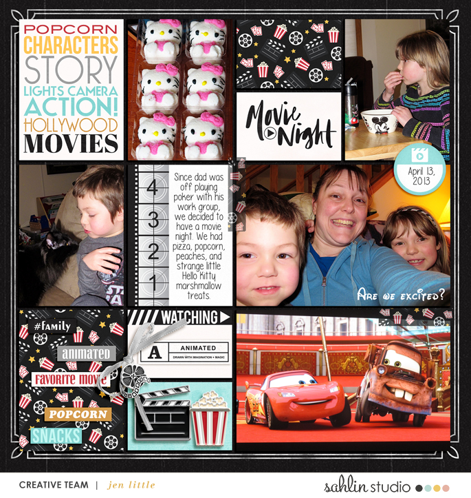 Movie Night digital Project Life scrapbooking layout using Project Mouse (Movies) by Britt-ish Designs and Sahlin Studio
