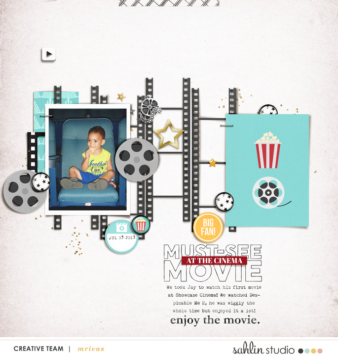 Must See Movie at the cinema digital Project Life scrapbooking layout using Project Mouse (Movies) by Britt-ish Designs and Sahlin Studio