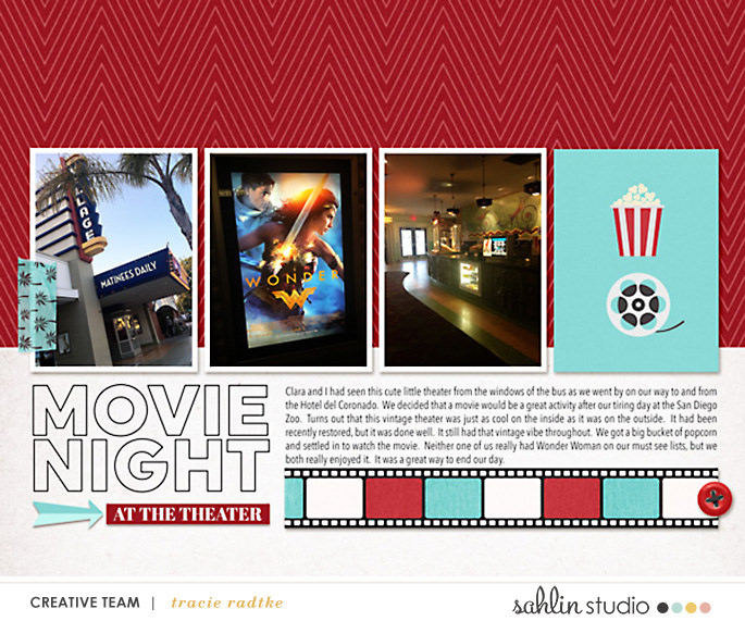 Movie Night digital scrapbooking layout using Project Mouse (Movies) by Britt-ish Designs and Sahlin Studio