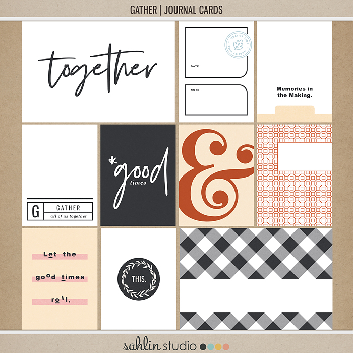 Gather (Journal Cards) by Sahlin Studio - Good in your Project Life albums for any fall, autumn, thanksgiving, or group gatherings.
