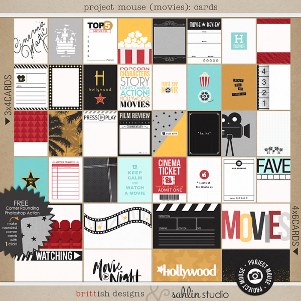 Project Mouse (Movies): Journal Cards by Britt-ish Designs and Sahlin Studio - Perfect for scrapbooking your movie night or night at the movies or your Disney Hollywood Studios photos in your scrapbooking or Project Life albums!!