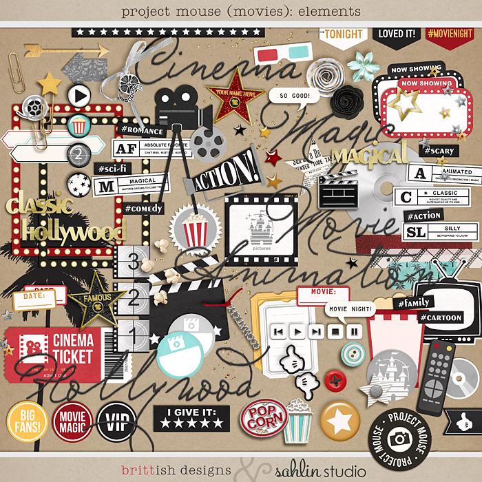 Project Mouse (Movies): Elements by Britt-ish Designs and Sahlin Studio - Perfect for scrapbooking your movie night or night at the movies or your Disney Hollywood Studios photos in your scrapbooking or Project Life albums!!
