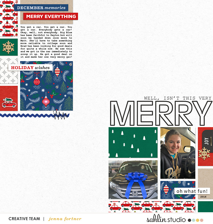 digital scrabooking layout created by Jenna featuring December 2018 FREE Template by Sahlin Studio