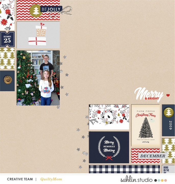 digital scrabooking layout created by Quiltymom featuring December 2018 FREE Template by Sahlin Studio