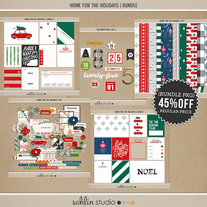Home for the Holidays (BUNDLE) by Sahlin Studio - Perfect for scrapbooking your December daily albums, Document Your December or Christmas albums!!