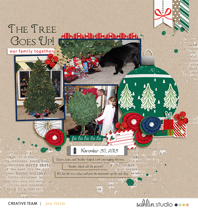 December / Christmas digital scrapbook page Home for the Holidays collection by Sahlin Studio - Perfect for Documenting Your December (DYD) or your Christmas!