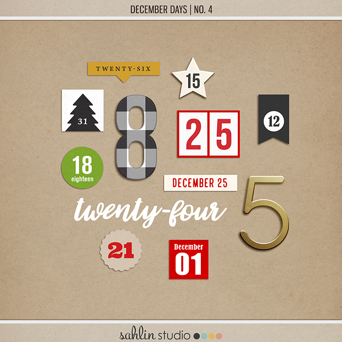 December Days No 4 (Numbers) by Sahlin Studio - Perfect for scrapbooking your December daily albums, Document Your December or Christmas albums!!