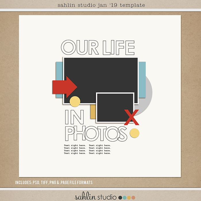 FREE Digital Scrapbooking Template / Sketch – January 2019