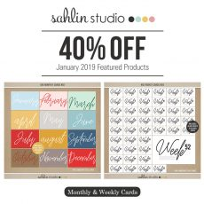 Monthly and Weekly Cards Sahlin Studio - January Featured Kit Perfect for Project Life albums!!