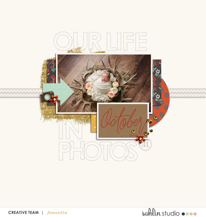 digital scrapbooking layout created by fonnetta featuring 4x6 Monthly Cards No. 1 by Sahlin Studio