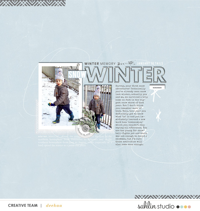 Winter SNOW January Details digital scrapbooking layout using Winter Stories by Sahlin Studio