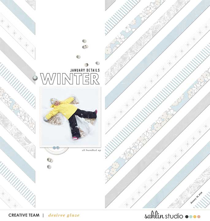 Snow Angel digital scrapbooking layout using Winter Stories by Sahlin Studio