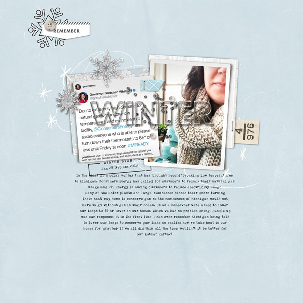 Winter COLD Energy Bill digital scrapbooking layout using Winter Stories by Sahlin Studio
