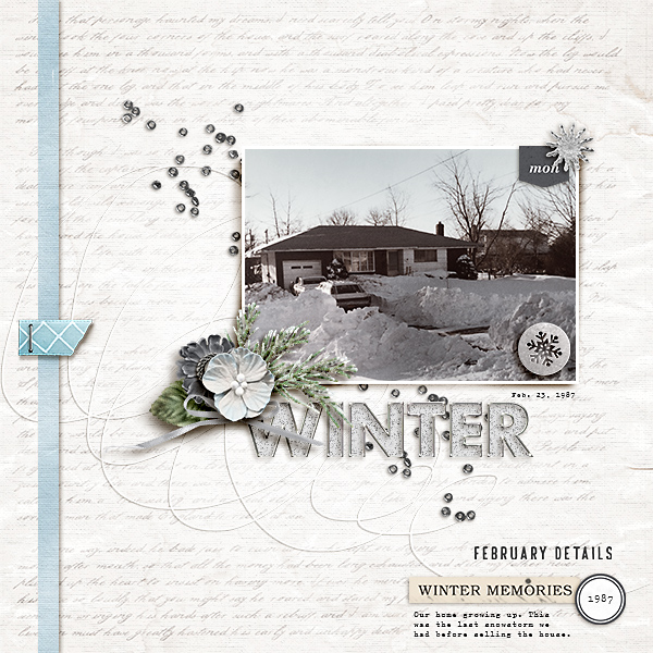 Winter Home digital scrapbooking layout using Winter Stories by Sahlin Studio