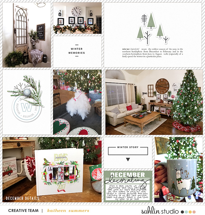 Winter Story Project Life digital scrapbooking layout using Winter Stories by Sahlin Studio