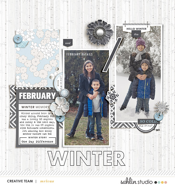 Winter (December) Journaling digital scrapbooking layout using Winter Stories by Sahlin Studio