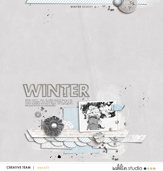 Winter SNOW digital scrapbooking layout using Winter Stories by Sahlin Studio
