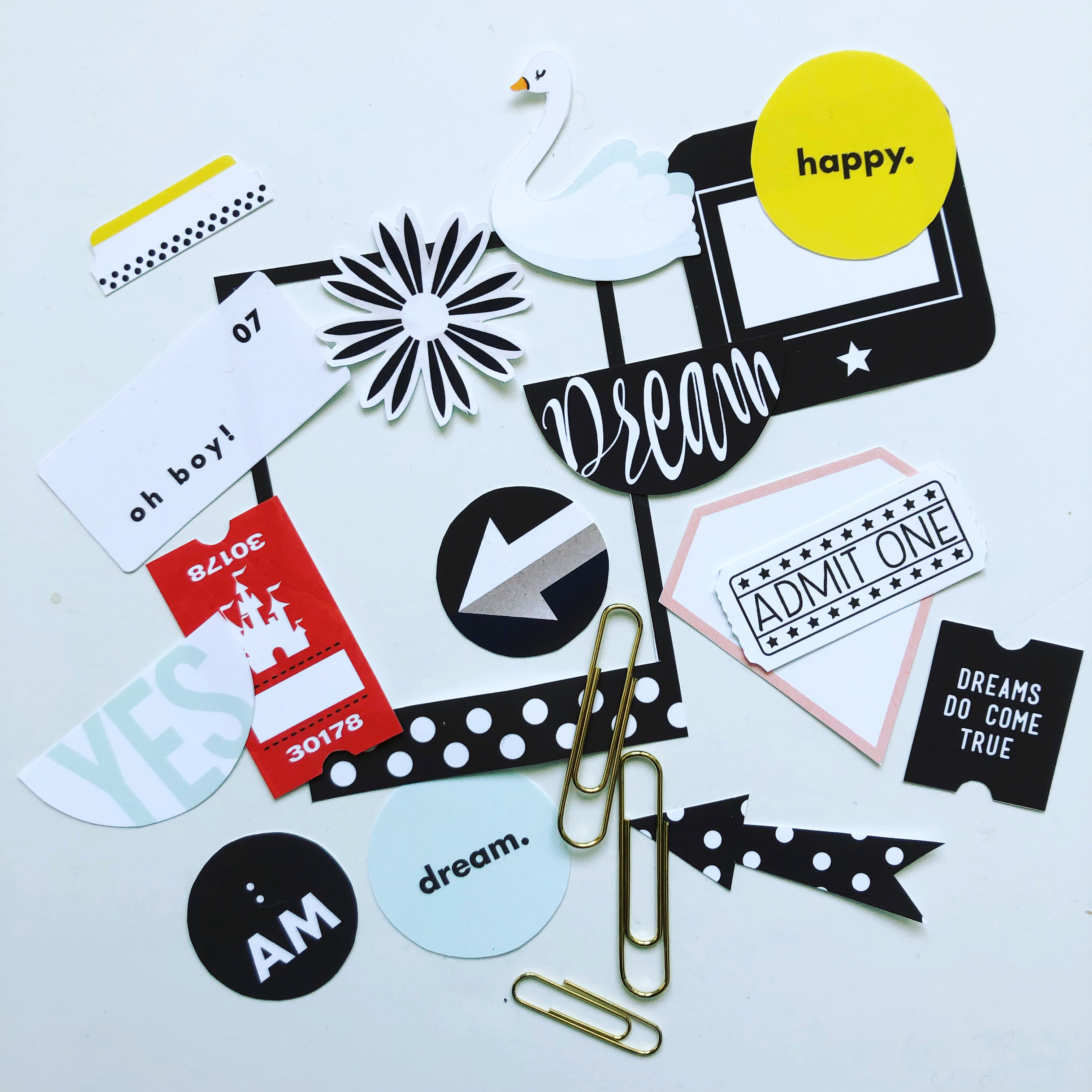 Printed Elements using Project Mouse (Vibes) Elements by Britt-ish Designs and Sahlin Studio - Perfect for scrapbooking or in your Disney Project Life or Project Mouse albums!!
