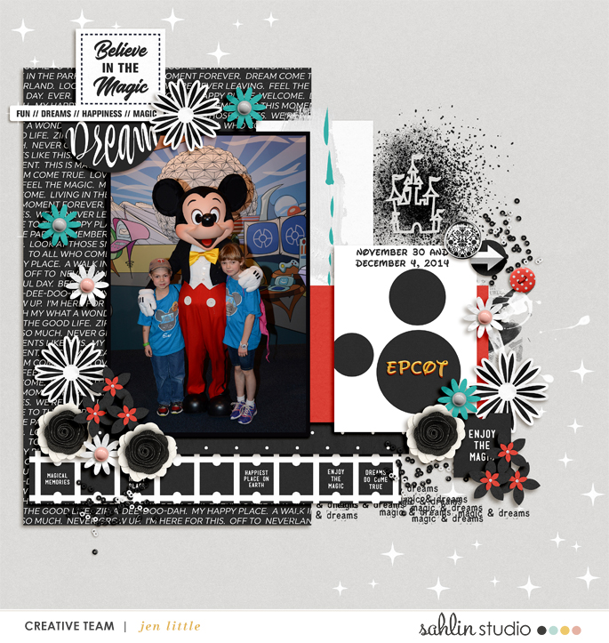 Disney Mickey digital scrapbooking layout using Project Mouse (Vibes) Elements by Britt-ish Designs and Sahlin Studio