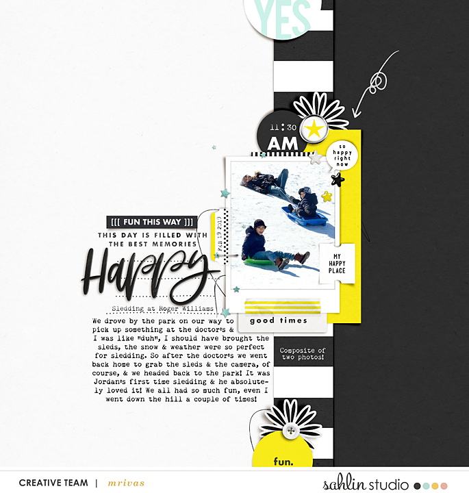 Happy digital scrapbooking layout using Project Mouse (Vibes) Elements by Britt-ish Designs and Sahlin Studio