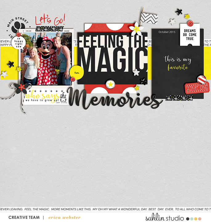 Disney Feeling the Magic digital scrapbooking layout using Project Mouse (Vibes) Elements by Britt-ish Designs and Sahlin Studio