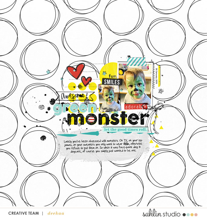 Awesome Green Monster digital scrapbooking layout using Project Mouse (Vibes) Elements by Britt-ish Designs and Sahlin Studio