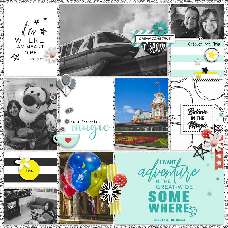 Disney Here for the Magic digital Project Life scrapbooking layout using Project Mouse (Vibes) Elements by Britt-ish Designs and Sahlin Studio - Perfect for scrapbooking or in your Disney Project Life or Project Mouse albums!!