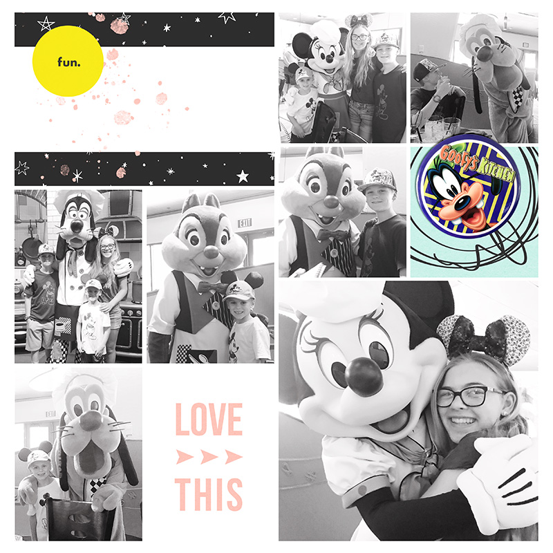 Disney Love This digital Project Life scrapbooking layout using Project Mouse (Vibes) Elements by Britt-ish Designs and Sahlin Studio - Perfect for scrapbooking or in your Disney Project Life or Project Mouse albums!!