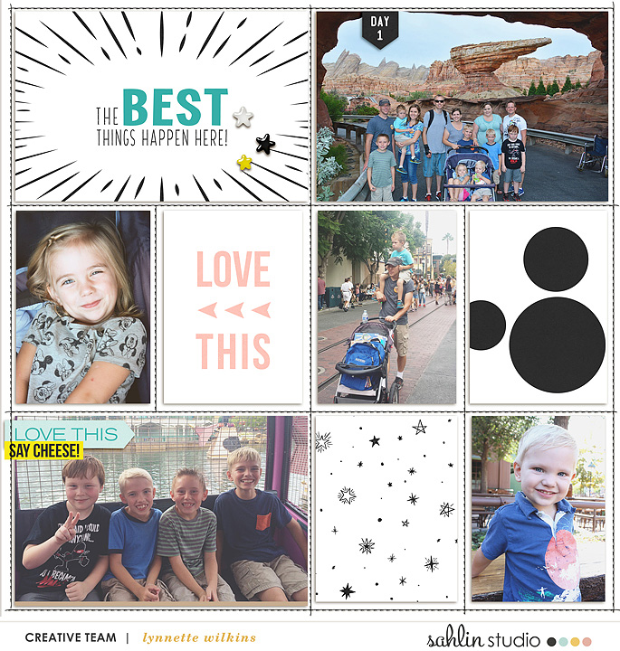 Disney The Best things happen here digital Project Life scrapbooking layout using Project Mouse (Vibes) Elements by Britt-ish Designs and Sahlin Studio - Perfect for scrapbooking or in your Disney Project Life or Project Mouse albums!!