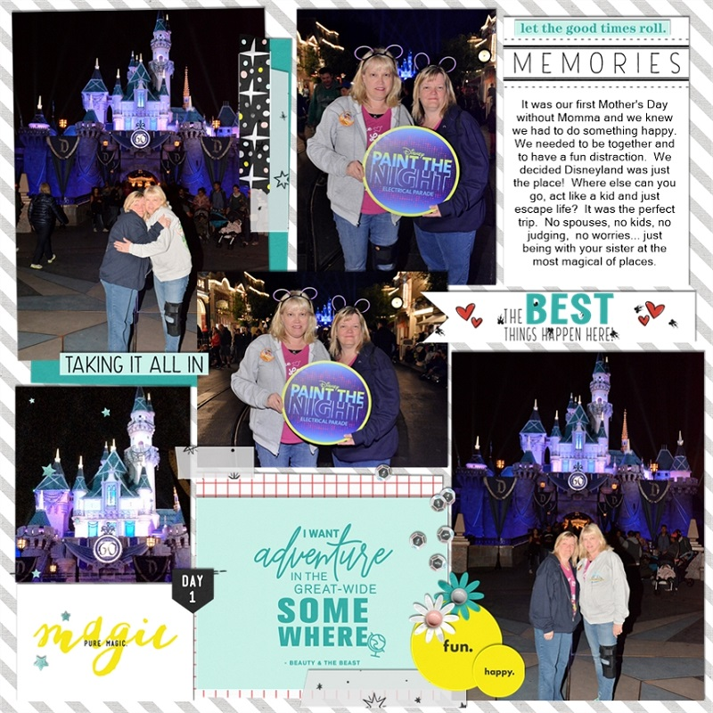 Disney The Best things happen here digital scrapbooking layout using Project Mouse (Vibes) Elements by Britt-ish Designs and Sahlin Studio - Perfect for scrapbooking or in your Disney Project Life or Project Mouse albums!!