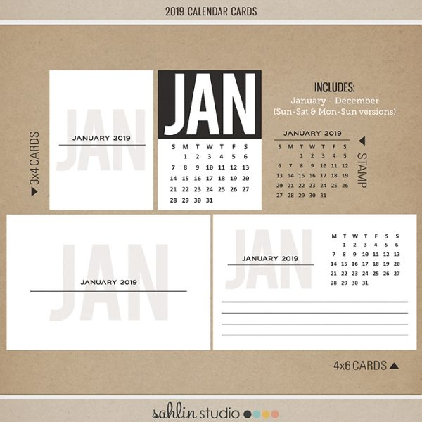 2019 Calendar Cards by Sahlin Studio