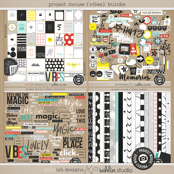 Project Mouse (Vibes) BUNDLE by Britt-ish Designs and Sahlin Studio - Perfect for scrapbooking or in your Disney Project Life or Project Mouse albums!!
