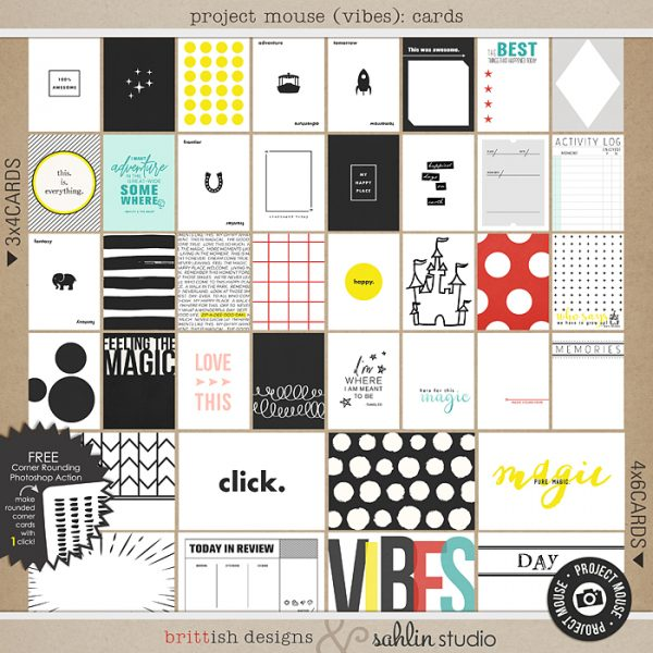 Project Mouse (Vibes) Journal Cards by Britt-ish Designs and Sahlin Studio - Perfect for scrapbooking or in your Disney Project Life or Project Mouse albums!!
