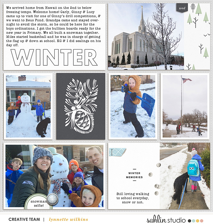 Winter SNOW Project Life digital scrapbooking layout using Winter Stories by Sahlin Studio