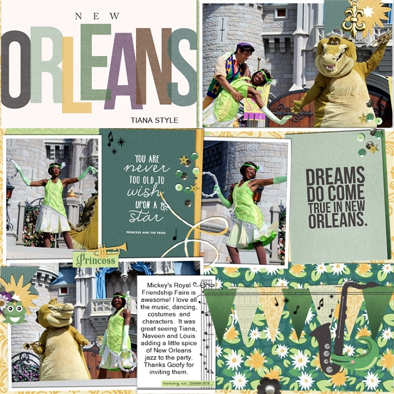 Disney New Orleans Tiana Princess and the Frog digital Project Life scrapbook layout using Project Mouse (New Orleans): Elements by Britt-ish Designs and Sahlin Studio