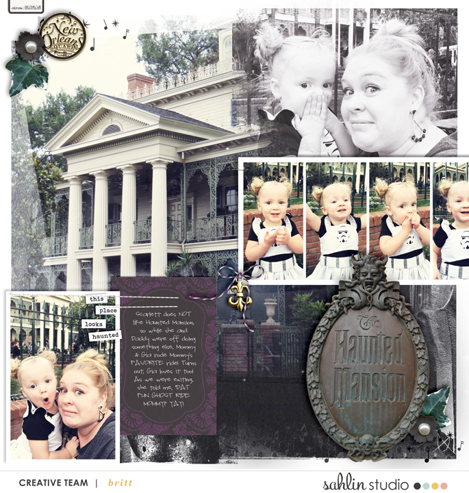 Disney New Orleans Square Haunted House digital scrapbooking layout using Project Mouse (New Orleans): Elements by Britt-ish Designs and Sahlin Studio