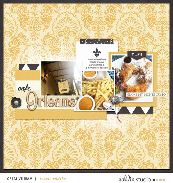 Disney Cafe Orleans New Orleans Food digital scrapbooking layout using Project Mouse (New Orleans): Elements by Britt-ish Designs and Sahlin Studio