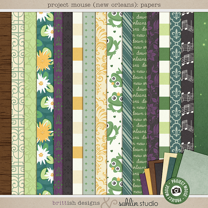 Project Mouse (New Orleans): Papers by Britt-ish Designs and Sahlin Studio - Perfect for your scrapbooking your New Orleans, Tiana, Bayou Moments in your Disney Project Life or Project Mouse album