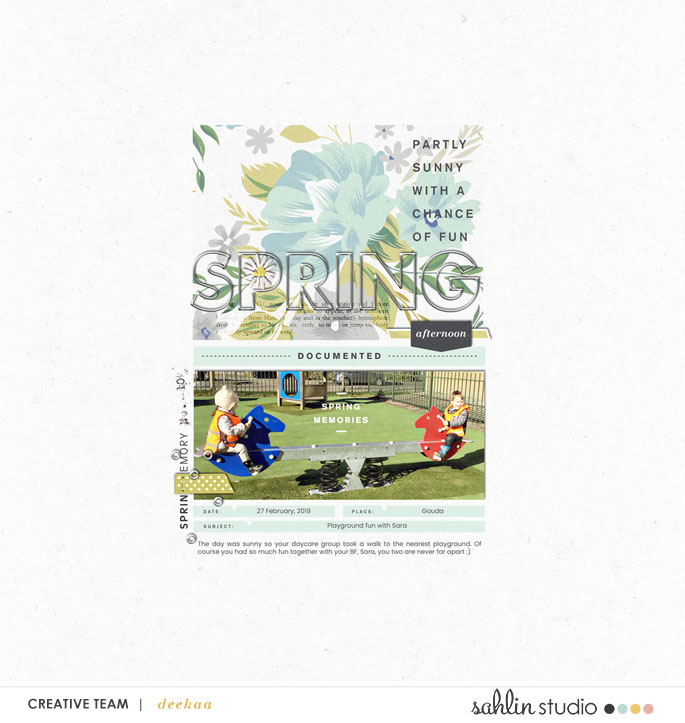 Spring digital scrapbooking layout using Spring Stories by Sahlin Studio - Perfect for spring, easter, park scrapbooking or in your Project Life!!