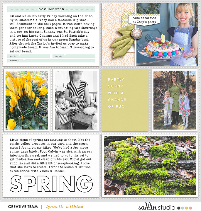 Spring March Project Life scrapbooking layout using Spring Stories by Sahlin Studio - Perfect for spring, easter, park scrapbooking or in your Project Life!!