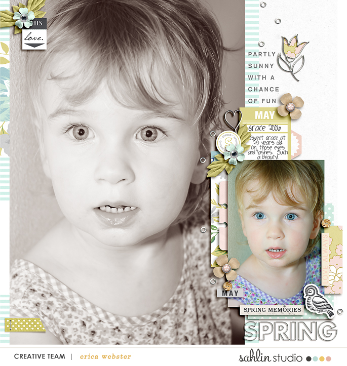 Partly Sunny digital scrapbooking layout using Spring Stories by Sahlin Studio - Perfect for spring, easter, park scrapbooking or in your Project Life!!