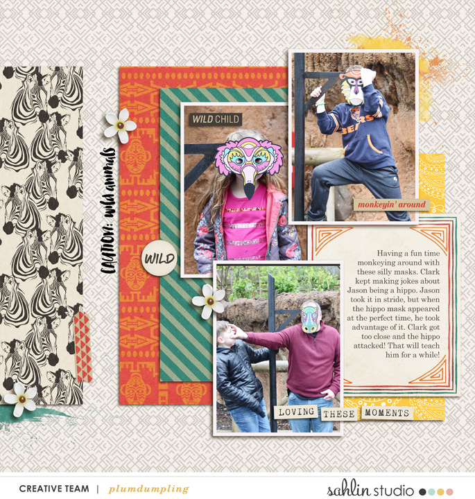 digital scrapbooking layout created by plumdumpling featuring June 2019 FREE Template by Sahlin Studio