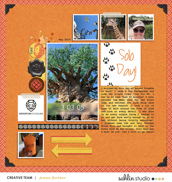 digital scrapbooking layout created by Jenna featuring July 2019 FREE Template by Sahlin Studio